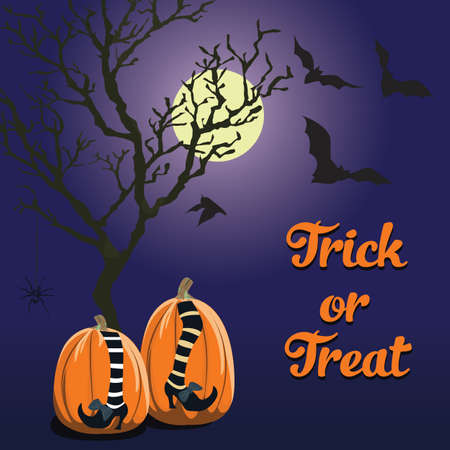blue background with Halloween style and pumpkin. Trick or treat. Format eps10.
