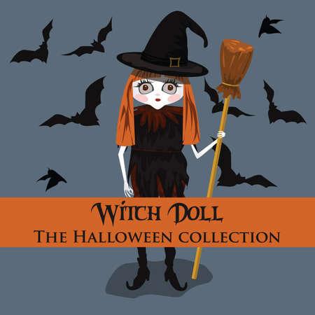 background. Halloween style with witch doll. Format eps10. Ilustração
