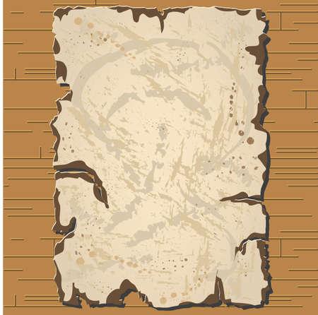 Vector old parchament with brown background with format eps10. Ilustração