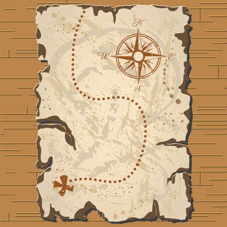 Vector oude parchament met bruine achtergrond en schat kaart met formaat eps10. Vector Illustratie