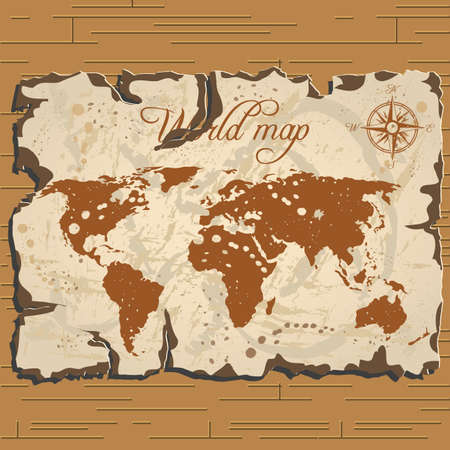 Vector old parchament with brown background and treasure and world map with format eps10.