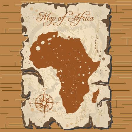 Vector old parchament with map of Africa with format eps10. Ilustração