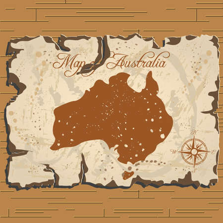Vector old parchament with map of Australia with format eps10.