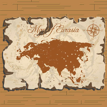 eurasia: Vector old parchament with map of Eurasia with format eps10.