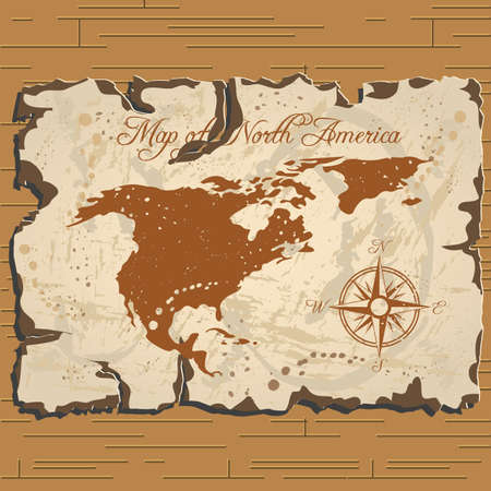 Vector old parchament with map of North America with format eps10. Ilustração