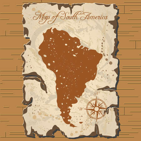 Vector old parchament with map of South America with format eps10.