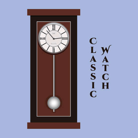Vector classic watch. Blue background with format eps10.