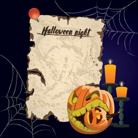 Vector vintage parchment. Halloween night with format eps10. Ilustração
