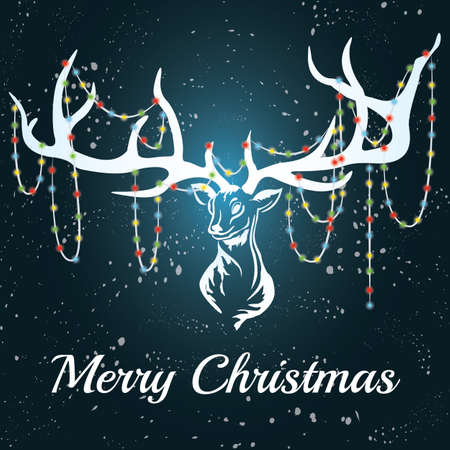 Deer with white silhouette with marry christmas. Format eps10.