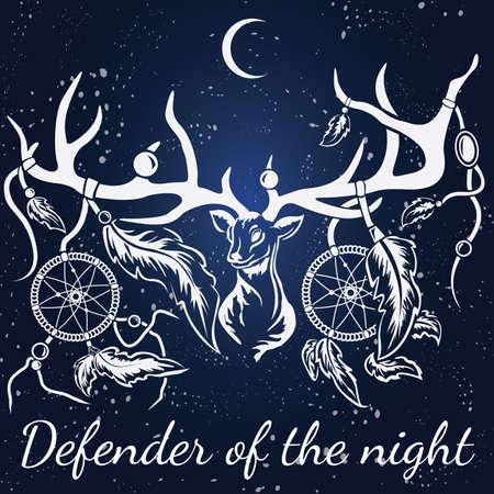 Deer with white silhouette with dream catcher. Format eps10. Ilustração