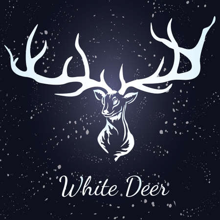 Deer with white silhouette. Format eps10.