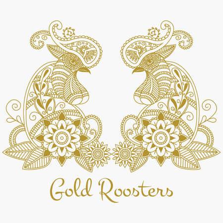 Vector mehendi with gold roosters. Format eps10. Ilustração