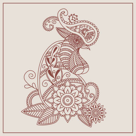 Vector mehendi with henna rooster. Format eps10.