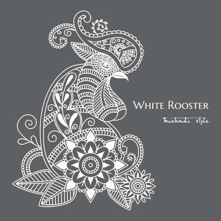 Vector mehendi with white rooster mehendi. Format eps10.