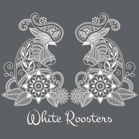 Vector mehendi with white roosters. Format eps10.