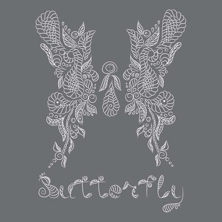 Vector pattern with mehendi white butterfly. Format eps 10.