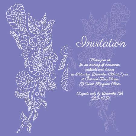 Vector invitation with white butterfly pattern. Format eps10. Ilustração