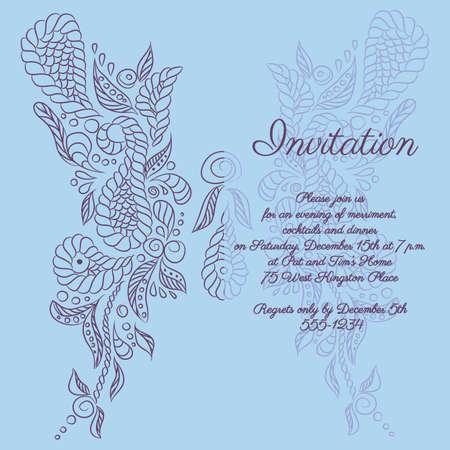 Vector invitation with blue butterfly pattern. Format eps10. Ilustração