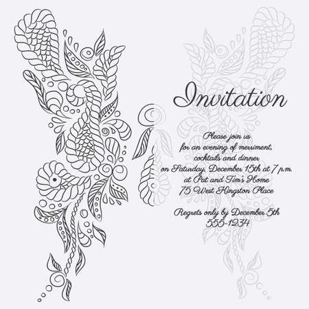 Vector invitation with grey butterfly pattern. Format eps10.