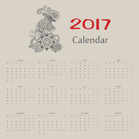 Vector calendar with year of rooster russian format. Format eps10.