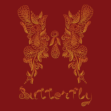 Vector pattern with mehendi gold butterfly. Format eps 10.