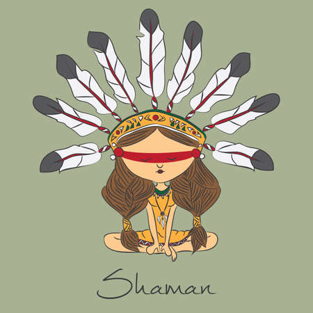 Vector color sketch with shaman redskin with format eps10.