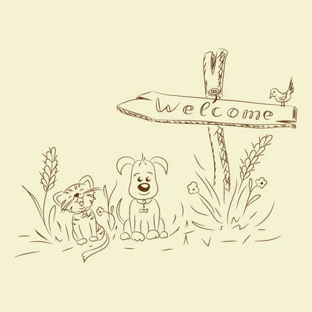 Vector freehand drawing with pointer cat dog with format eps10.