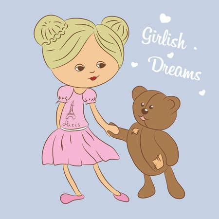 Girl with teddy bear illustration.