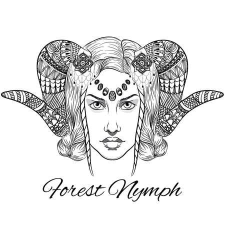 Vector Forest nymph. Portrait anti stress. Illustration