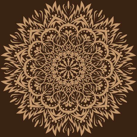 Vector mandala. Brown background. Ilustração