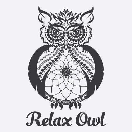 Vector owl. Anti stress coloring.