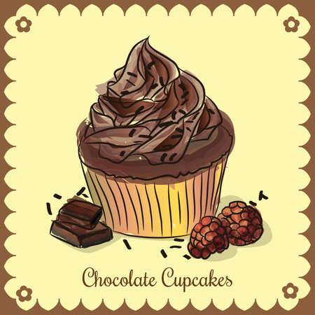 Vector vintage card. Chocolate cupcakes