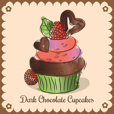 Vector vintage card. Dark chocolate cupcakes Ilustração