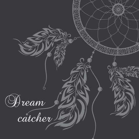 Vector dream catcher. Dark background.