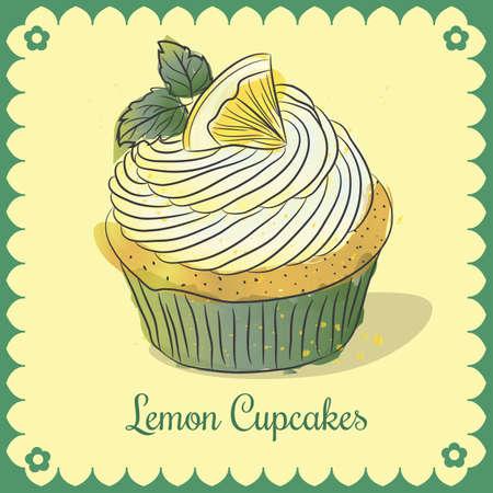 Vector vintage card. Lemon cupcakes
