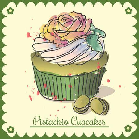 Vector vintage card. Pistachio cupcakes