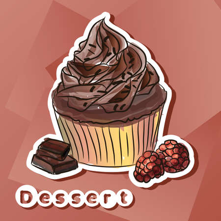 Vector sticker with chocolat cake.