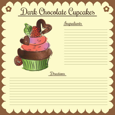 Vector recipe. Dark chocolate cupcake Ilustração