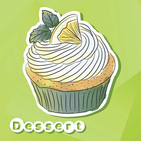 Vector sticker with lemon cake.