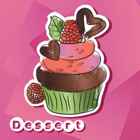 Vector sticker with dark chocolat cake.