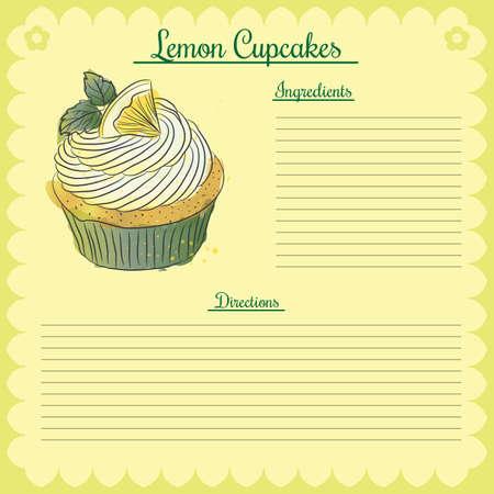 Vector recipe. Lemon cupcake