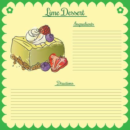 Vector recipe. Lime cupcake Ilustração