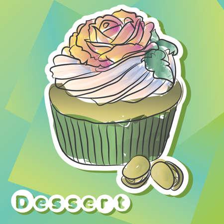Vector sticker with pistachio cake. Ilustração