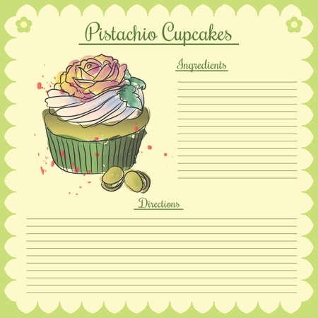 Vector recipe. Pistachio cupcake Ilustração