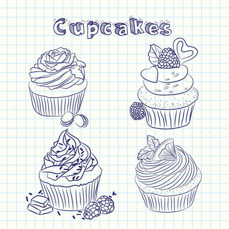 Vector scetch cupcake. Sheet background