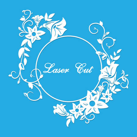 Vector laser cut. Floral ornament. Ilustração