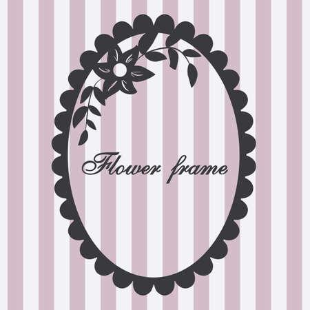 Vector vintage frame. Flower ornament pink.
