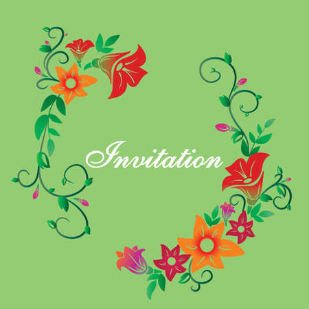 Vector invitation with flower ornament green Ilustração