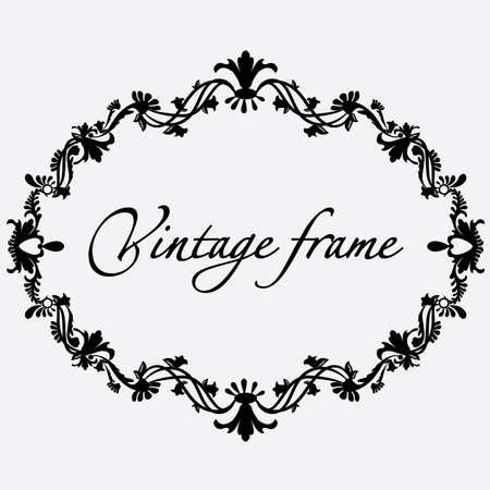Vector vintage frame. Flower ornament. Ilustração