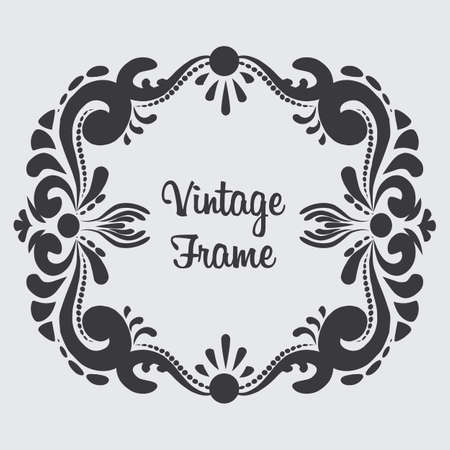 A Vector rectangular vintage frame. Floral ornament